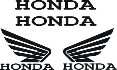 Honda Wings Decals Stickers Motorcycle AUTO Window CUSTOM Sizes Colors SET of 2