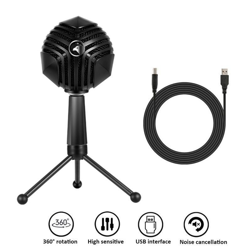 New Condenser USB Microphone With Stand LED Mic Gaming Chat Studio Recording