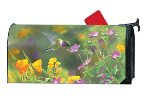 MailWrap of hummingbird hovering while drinking nectar from purple wildflowers and poppies
