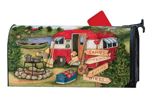 MailWrap with vintage teardrop camper scene at the lake with campfire