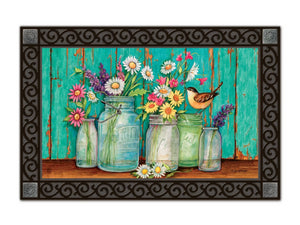 Mason Jars and Flowers Just Picked MatMate DoorMat