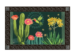Night Cactus and Hummingbird MatMate DoorMat