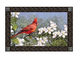 Cardinal in Blossoms MatMate DoorMat