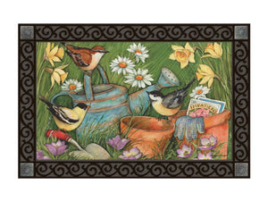 Bird Garden Visitors MatMate DoorMat