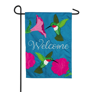 Hummingbirds and Petunias Garden Applique Flag