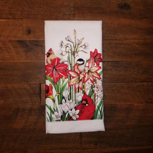 Amaryllis with Cardinals & Chickadee Flour Sack Towel