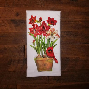 Amaryllis with Cardinal on Flower Pot Flour Sack Towel