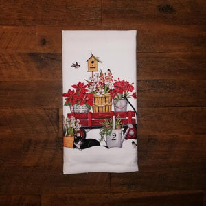 Wagon & Bird House Flour Sack Towel