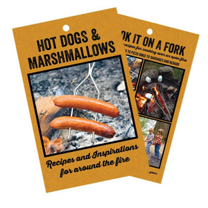 Front and back brown cover of the book entitled Hot Dogs & Marshmallows: Recipes and Inspirations For Around The Fire