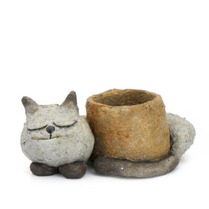 Sleepy Kitty Cat Planter