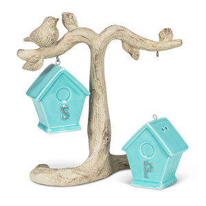 Birdhouse Salt & Pepper on Branch (Blue)