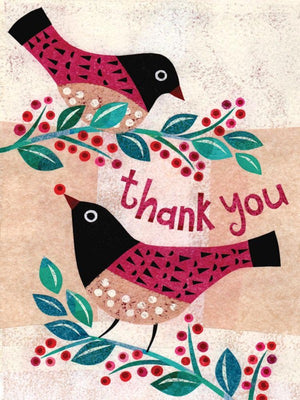 Thankful Birds Thank you Greeting Card