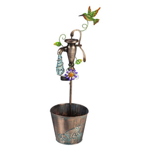 Solar Dripping Light Spigot Flower Planter with Hummingbird Topper