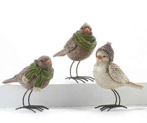 Winter Birds with Hats and Scarves Figurines, Choose from 3 Assorted Designs