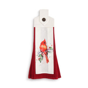 Dean Crouser Cardinal and Holly Button Loop Tea Towel