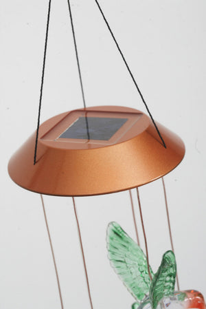 Close-up image of the solar panel atop the Painted Hummingbirds Solar Mobile Windchime
