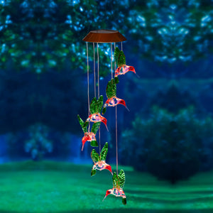 Hummingbird Painted Solar Mobile Windchime lit at night