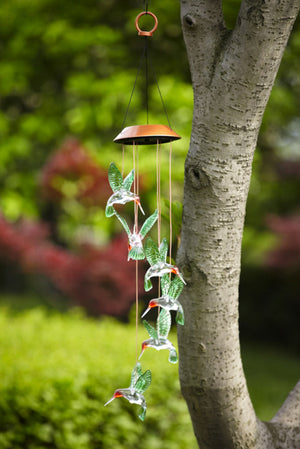 Hummingbird Painted Solar Mobile Windchime hanging from tree