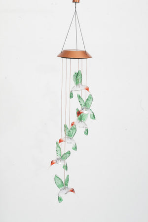 Hummingbird Painted Solar Mobile Windchime
