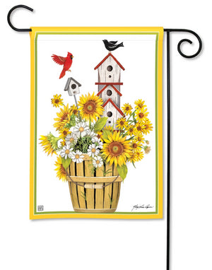 Bird House Bucket Garden Flag