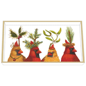 Cardinals Holiday Party Wood Lacquered Vanity Tray