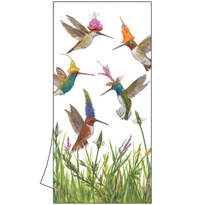 Meadow Buzz Kitchen Towel decorated with Hummingbirds