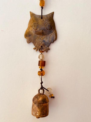 The Three Hoot Owls Windchime - Glass Beads & NANA Bell