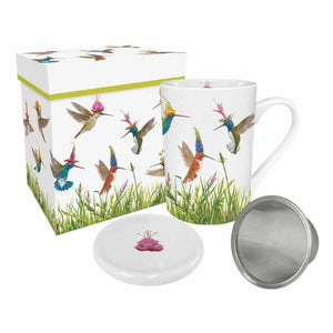 Meadow Buzz Gift-Boxed Tea Mug with Lid & Strainer decorated with Hummingbirds
