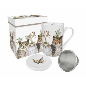 Holiday Hoot Gift-Boxed Tea Mug with Lid & Strainer