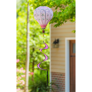 Hummingbirds Balloon Spinner hanging in yard