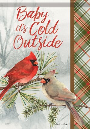 """Winter Cardinal Pair"" Garden Flag"