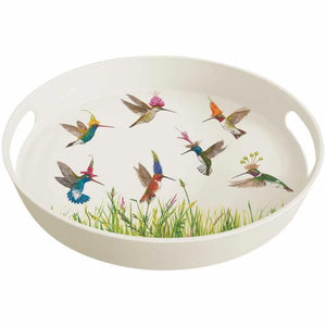 Meadow Buzz Bamboo Tray decorated with Hummingbirds