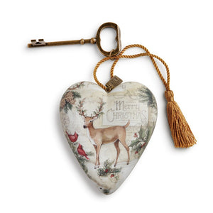 Merry Christmas Art Heart with Deer and two Cardinals