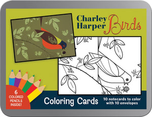 Birds: Charley Harper Coloring Cards includes 6 colored pencils