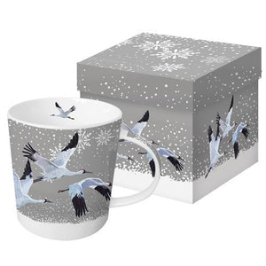 Snowfall Cranes Gift-Boxed Mug by artist Patti Gay