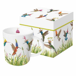 Meadow Buzz Gift-Boxed Mug decorated with Hummingbirds