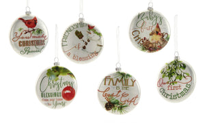 Glass Disc Ornament, Choose from 6 Assorted Designs