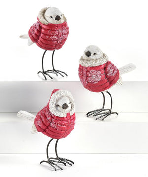 White Snow Bird Figurine in Red Puffy Coat, Choose from 3 Assorted Designs