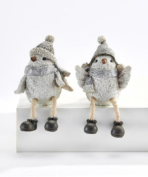 White Snow Bird in Scarf, Hat & Boots