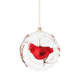 Glass Ball Ornament with Hanging Cardinal Inside