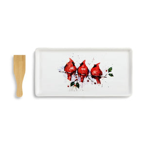 Dean Crouser Three Round Cardinals Appetizer Tray with Spatula