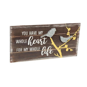 """You Have My Whole Heart for My Whole Life"" Bird Wood Wall Art"