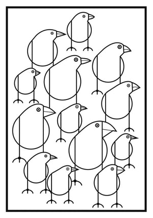 Darwin's Finches design included in Set of the Birds: Charley Harper Coloring Cards includes 6 colored pencils