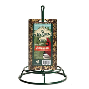 Mr. Bird Seed Cylinder EZ Feeder shown with the seed cylinder on it for display purposes