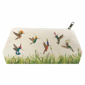 Meadow Buzz Canvas Cosmetic Bag decorated with Hummingbirds MEDIUM:  9.75″ x 4.75″ x 3″