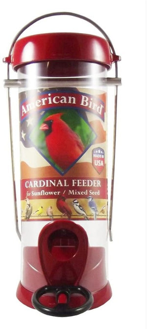 Droll Yankees 2 Port Cardinal Sunflower/Mixed Seed Feeder, 8-Inch, Red