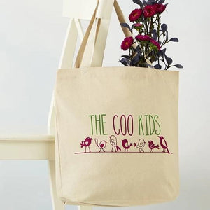 "Cotton Tote Bag that reads ""The Coo Kids"" with image of birds on a wire"