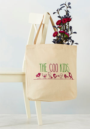 "Full image of Cotton Tote Bag that reads ""The Coo Kids"" with image of birds on a wire"