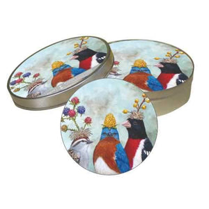 Berry Festival Pulp board Coaster Set in a Decorative tin box