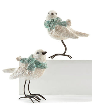 White Snow Bird Figurine w/Scarf - 2 Assorted